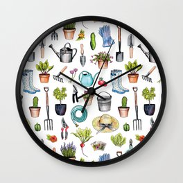 Garden Gear - Spring Gardening Pattern w/ Garden Tools & Supplies Wall Clock