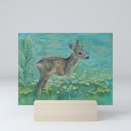 Little Roe on the spring meadow Wildlife Deer Pastel drawing Fawn Mini Art Print
