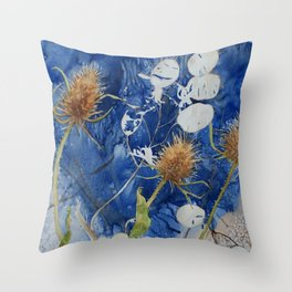 Teasels and Honesty Throw Pillow