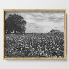 Cotton Field in Black and White Serving Tray