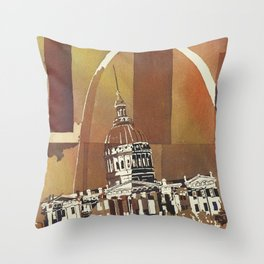 Watercolor batik painting of Old Courthouse and Arch of St. Louis at dusk- Missouri (USA). Throw Pillow