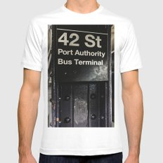 42nd street subway stop MEDIUM Mens Fitted Tee White