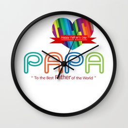 i love papa fathers day father's day t shirt Wall Clock