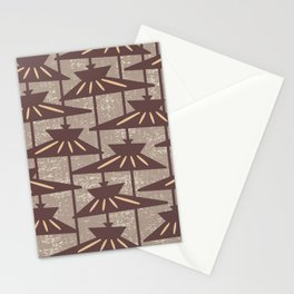 Mid Century Modern Pendant Lamp Composition Beige and Brown Stationery Cards
