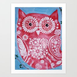 Rose Flower Owl Art Print