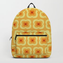 Yellow Retro Flower Pattern Backpack