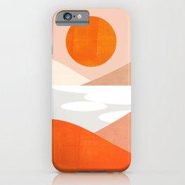 Abstraction_SUNSET_LAKE_Mountains_Minimalism_001 iPhone Case