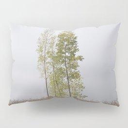 Elegant poplars. Foggy morning Pillow Sham