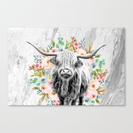Highland Cow With Flowers on Marble Black and White Canvas Print