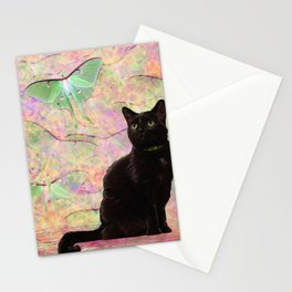 Luna Cat Pink & Green Stationery Cards