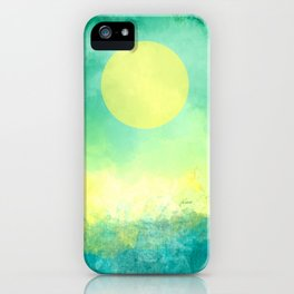Yellow Moon, Emerald Sky, Blue Water iPhone Case