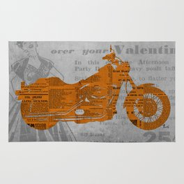 Triumph motorcycle newspaper collage, cut paper, original abstract art for men gift Rug