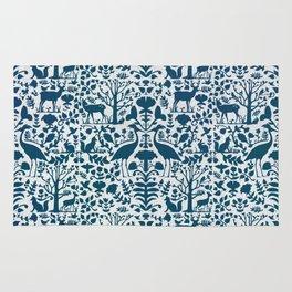 Folk Art Pattern Blue Teal on Gray Rug