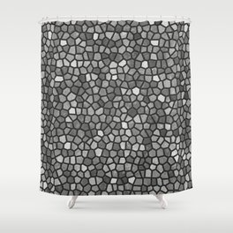 Faux Stone Mosaic in Darker Grays Shower Curtain