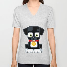 Super cute animals - Cute Black Puppy Dog Unisex V-Neck
