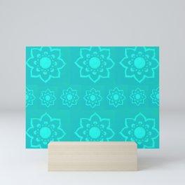 Artisan Style Block Print Lotus Flower Pattern Mini Art Print