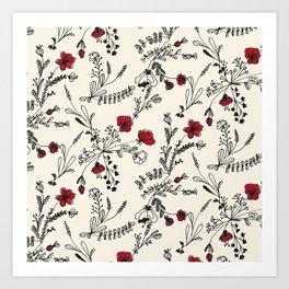 Red Flower Pattern Art Print