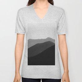 Simple Minimalist Landscape Parallax Mountain Landscape Black And White Unisex V-Neck