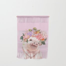 Baby Pig with Flowers Crown Wall Hanging