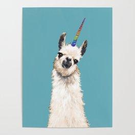 Unicorn Llama Blue Poster