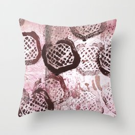 Pink-brown abstract painting Throw Pillow