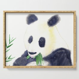 Giant Panda eating Bamboo Watercolor Painting Serving Tray