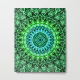 Mandala in bright green and blue Metal Print