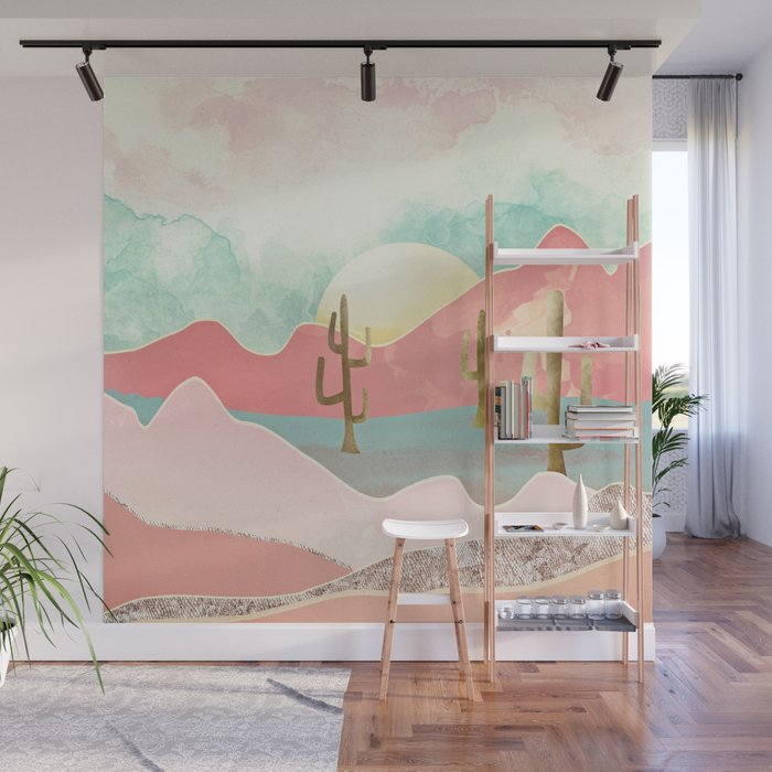 Desert Mountains Wall Mural by spacefrogdesigns Society6