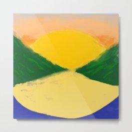 Setting Sun Along The Lake (Coloured) Metal Print