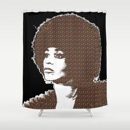 Angela Davis - Black Background Shower Curtain
