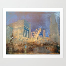 Drawbridge Chicago River City Skyline Art Print