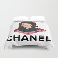 jfk Duvet Covers featuring Jackie O  by Steven Crissey