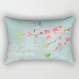 My favorite weather - Romantic Birds Cherryblossoms and Spring Typography on teal Rectangular Pillow