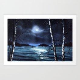Dreaming on Moonlight Lake Art Print