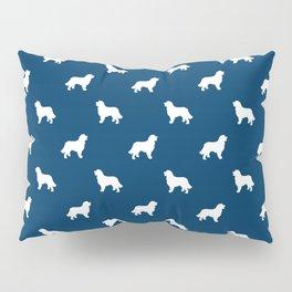 Bernese Mountain Dog pet silhouette dog breed minimal navy and white pattern Pillow Sham