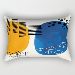 Fun Colorful Abstract Mid Century Minimalist Yellow Navy Blue Whiscial Patterns Organic Shapes Rectangular Pillow