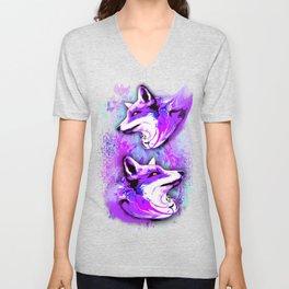 Purple Fox Spirit Unisex V-Neck