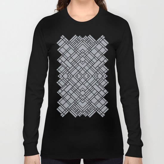 Map Outline 45 Grey Repeat Long Sleeve T-shirt