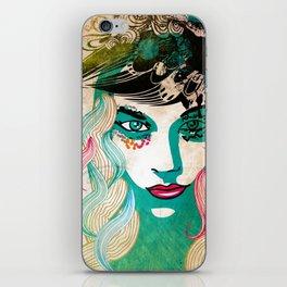 floral girl illustration iPhone Skin