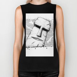 Carved Stone Face Biker Tank