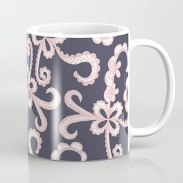 Blush Pink White Floral Lace on Navy Blue Coffee Mug