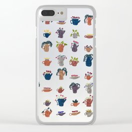 Tea Pots and Cute Plants Clear iPhone Case