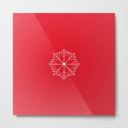 SNOWFLAKE & Bright Red color  Metal Print