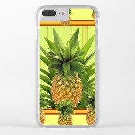 MODERN GREEN-YELLOW  HAWAIIAN PINEAPPLE ART Clear iPhone Case