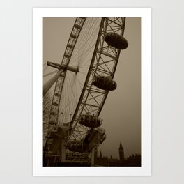 Ferris Wheel & Big Ben Art Print