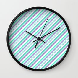 Deep Sea Green Turquoise Violet Inclined Stripes Wall Clock
