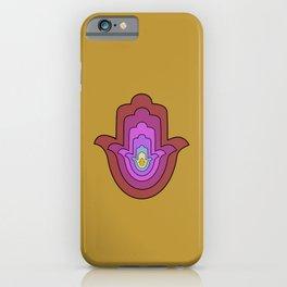 hamsa hand in yellow lotus iPhone Case
