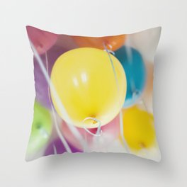 Bunch of pastel colored balloons flying in the air Throw Pillow