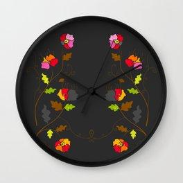 Floral Trellis on Dark Gray Wall Clock
