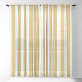 Large Mustard Yellow and White Cabana Tent Stripe Sheer Curtain